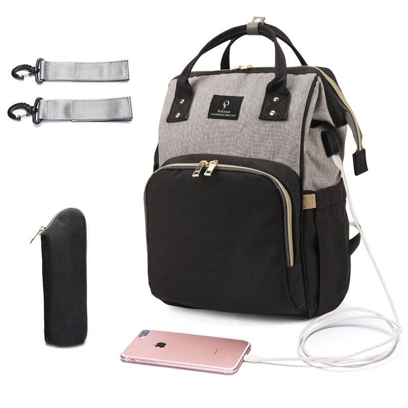USB Grande Capacidade de Saco de fraldas Saco de Fraldas Designer de Maternidade À Prova D' Água Mochila de Viagem Saco de Enfermagem Cuidados Com o Bebê do Carrinho De Criança Bolsa de Nova