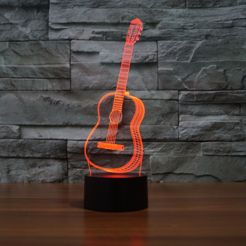 Lights & Lighting Collection Here Christmas Gift 3d Night Light Guitar Bulbing Lamp 7 Color Dimming Illusion Led Lamp Children Toys For Birthday Party Preventing Hairs From Graying And Helpful To Retain Complexion Led Night Lights