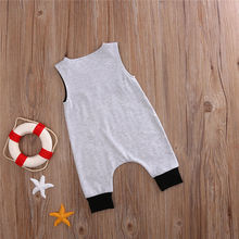 Pudcoco 2017 Newborn Kids Baby Boys Girls Clothes Sleeveless Gray Romper Jumpsuit Summer Cute Cotton Outfits