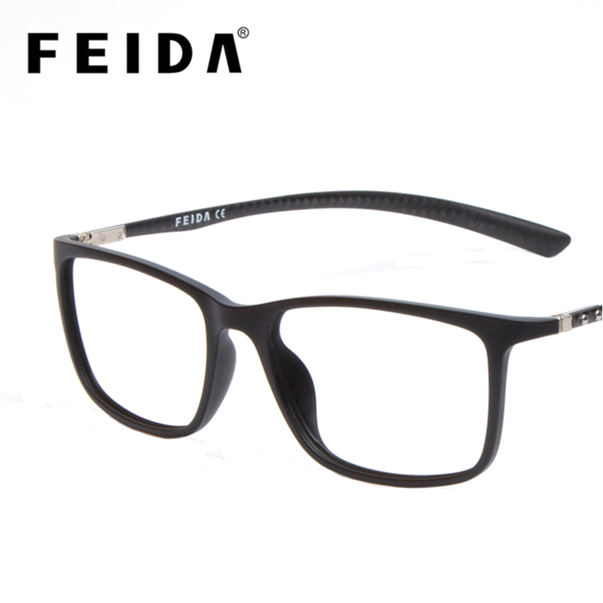 FEIDA High Grade Square Men Women TR90 Eyeglasses Frames Carbon Fiber Transparent Glasses Retro Fake Glasses Clear Lens Eyewear
