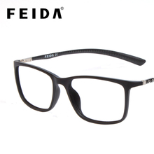 FEIDA High Grade Square Men Women TR90 Eyeglasses Frames Carbon Fiber Transparent Glasses Retro Fake Glasses Clear Lens Eyewear
