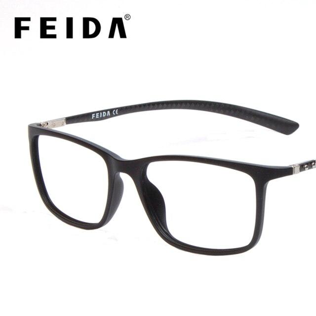 17a6c910f6b44e FEIDA High Grade Vierkante Mannen Vrouwen TR90 Brillen Frames Carbon Fiber Transparante  Glazen Retro Nep Bril