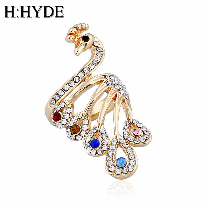 H:HYDE Colorful imitation crystal peacock ring tide three-dimensional hollow retro index finger jewelry wedding party ring women