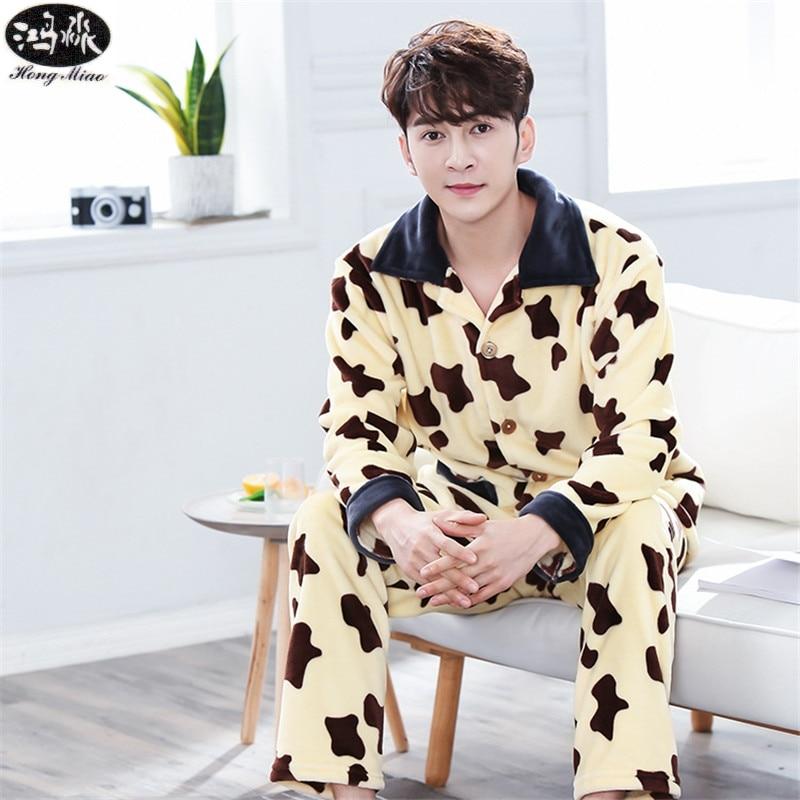 2018 Autumn Winter New Men Pajamas Suit Cardigan Yellow Cow Thick Flannel Pajamas Boutique Suit Pajamas Home Clothes