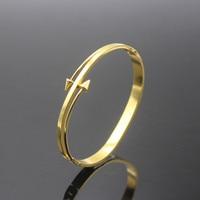 New Luxury Brand Double Arrow Bangles Bracelets For Men Women Love Anchor Titanium Steel Men Bangles Women Fashion Jewelry