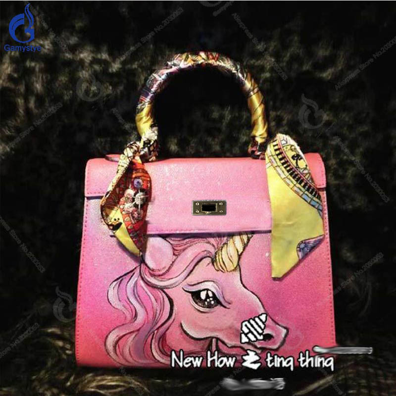 db005ab2ba40 New Design High Quality Cow Leather Handbag Hand Painted Pink Unicorn  Little Pony Bag Women Casual Totes Messenger Party Bag Y