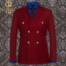 Brand Clothing Men Suit Spring Double Breasted 50% Wool Warm Slim Fit Suits For Wedding Groom Red Tuxedo Jacket 3pcs Set Fashion