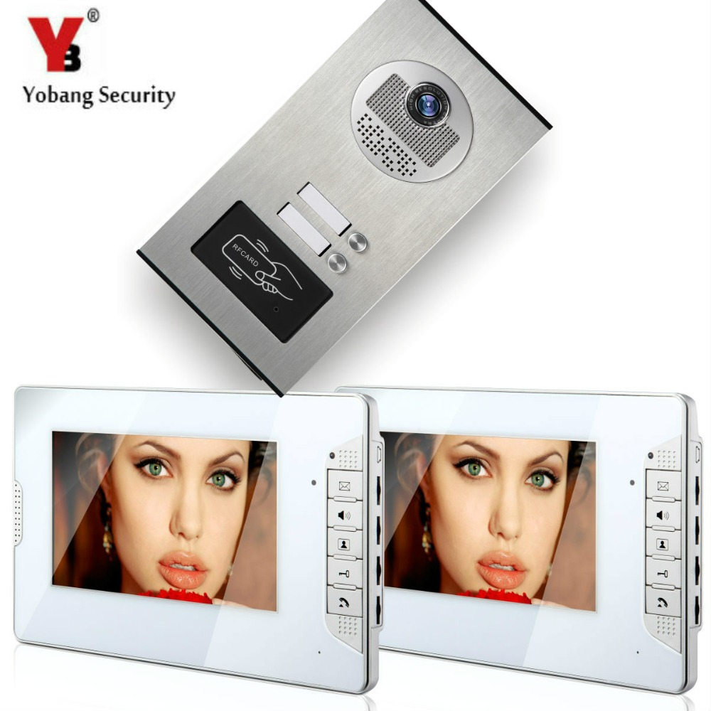 YobangSecurity 2 Units Apartment Wired 7Inch Video Door Phone Video Door Entry Intercom System Doorbell RFID Access IR Camera yobangsecurity 6 apartment wired video door phone intercom system 7 inch monitor ir camera video intercom doorphone doorbell kit