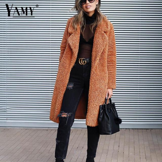 Plus size Fashion Faux Fur Coat Women winter long coat 2019 Autumn Warm Soft Zipper teddy jacket Female Overcoat Outerwear Warm