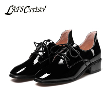 LAFS CSTLAV Patent Leather Fashion Pumps Shoes Women Comfortable Lace Up Beautiful Square Toe High Quality Brand Shoe Woman
