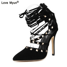 Roman Sandals Women Pumps New Style Booties Ladies Sexy Hollow Cross Lace  Up Rivets Stiletto High 261a859dacb5