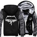 Tamaño de la Banda de Rock Metallica Thrash Heavy Metal al por mayor EE.UU. Invierno Mujeres Hombres Sudadera Con Capucha de Lana Con Cremallera Con Capucha Sudaderas Casual Sportwear
