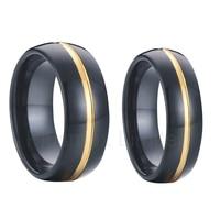 Pair Matching 8mm Men 6mm Women 18k Yellow Gold Plated Black Tungsten Carbide Rings Wedding Band