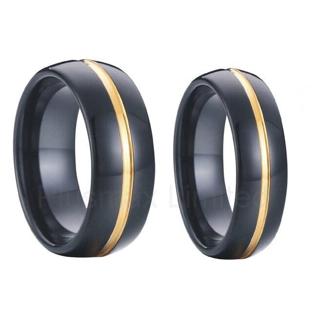 3205e4fc188f Par matching couple wedding band anillo de compromiso establece 8mm hombres  6mm mujeres negro carburo de