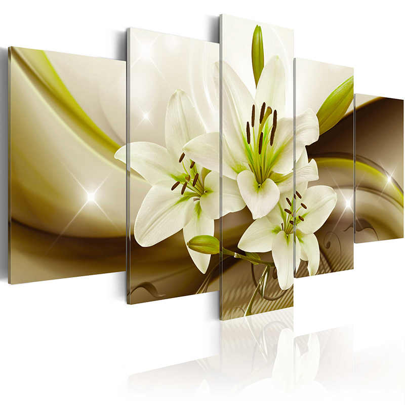 Top Wall Deocr Canvas Painting 5 Pcs Flower series Modern Printed Oil Pictures Beauty In Home Living Room No Frame or framed