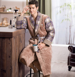 Brand Winter Bathrobe for Men British Casual Thickening Flannel Cotton Bath Robe Male Winter Home Dressing Gown With String Blet