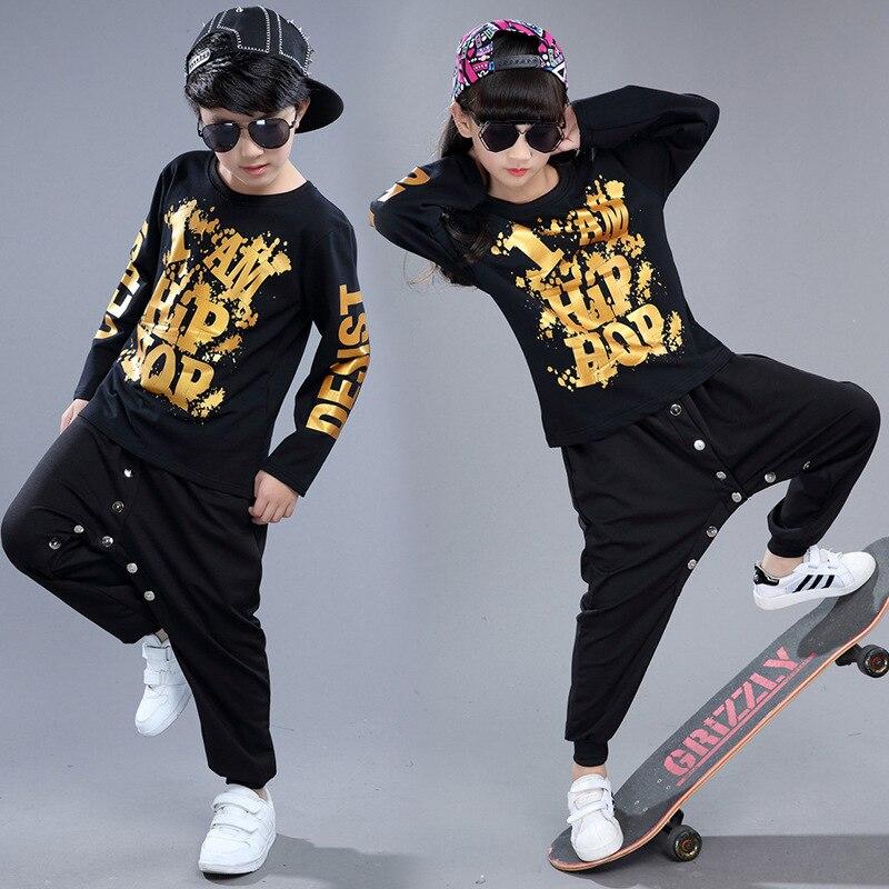Girls Boys Hip Hop Kids Clothes Cotton Children Streetwear Clothing Sets Top Pant Sport Suit Teenage Performance Costumes Black dhl equick ems shipping 6 sets girls clothing sets lots fashion kids clothing sets 2017 top jean pant 2pcs girls clothes sets