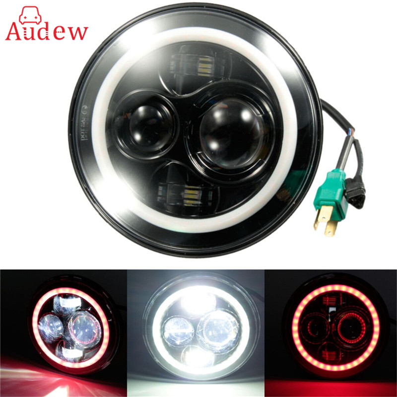Angel Eyes 7 Inch LED Headlight For Jeep 97-15/Wrangler/JK/TJ/LJ H4 Hi-lo Beam Front Driving Headlamp Car Styling for jeep wrangler jk anti rust hard steel front