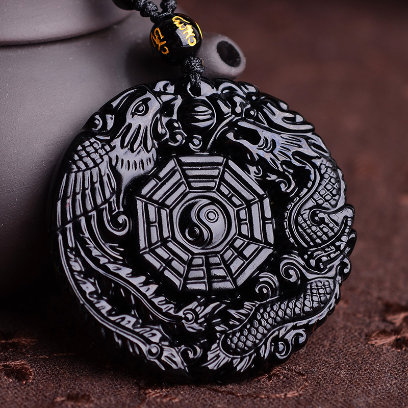 Natural Black Obsidian Hand Carved Chinese Dragon Phoenix BaGua Lucky Amulet Pendant Free Necklace Fashion Fine