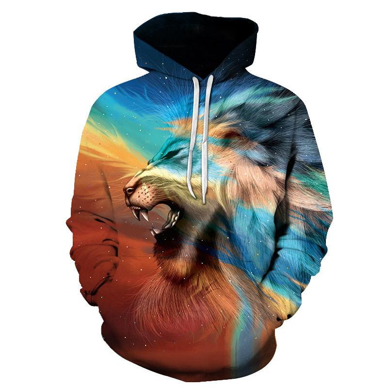 Mens 3D Lion Print Autumn Winter Long Sleeve Hoodie Sweatshirt Tops Blouse Coats