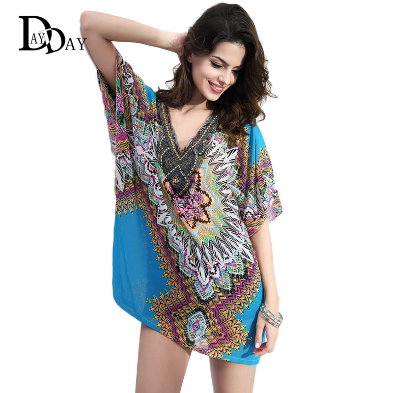 36b567a197e39d RIKOCHIC Bohemian Style Women Summer Chiffon Boho Blouse Beading Embroidery  V neck Vintage Printed Casual Blouse Beachwear C128-in Blouses & Shirts  from ...