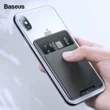 Baseus Universal Phone Back Slot Card Wallet Case For iPhone X Xs Luxury 3M Sticker Silicone Pouch Samsung Xiaomi