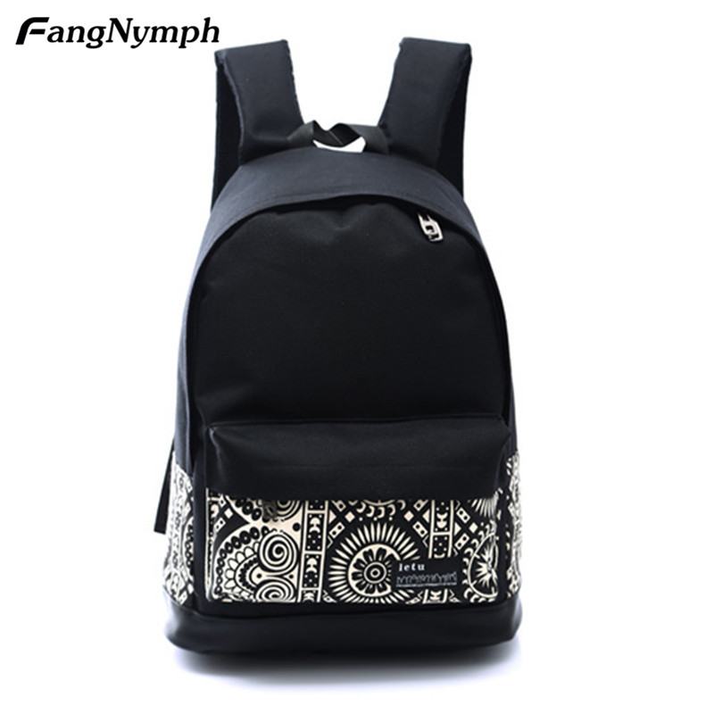 FangNymph New Fashion Women Canvas Printing Backpack Lightweight School Backpacks for Girls Teenagers Female Large Travel Bags 2017 augur new fashion men s vintage canvas backpack for teenage girls school bag women s travel large capacity backpacks bags