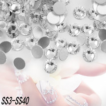 SS3-SS40 Flat Back Crystal Clear Non Hotfix Glue On 3D Rhinestones for Jewelry making diy, nail art decoration,clothing beads