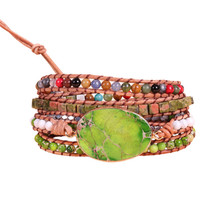 New Punk Bracelet Femme Natural King Stone Five Leather Wrap Bracelet Beads Bohemia Beach Bracelet Jewelry