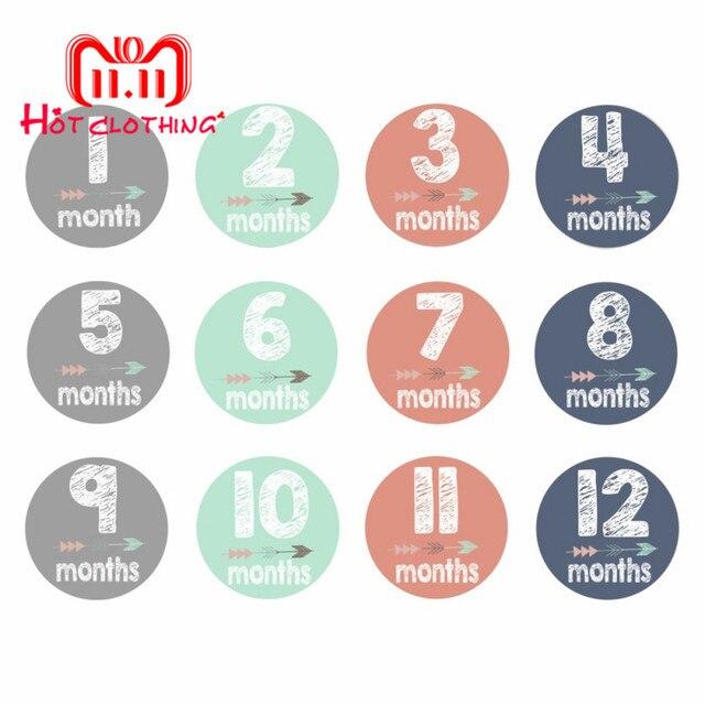 12 יח'\סט תינוק חודש מדבקת יילוד תמונת נכס מדבקות 1-12 חודשים תמונה מדבקות DIY Scrapbook אלבום כרטיס מדבקות