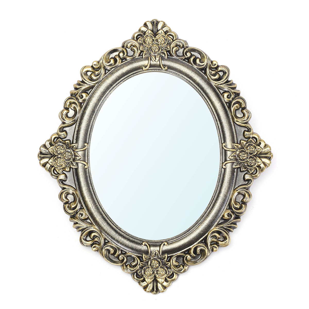 23 Inch Oval Decorative Mirrors Retro Vintage Wall Mouted Bronze ...