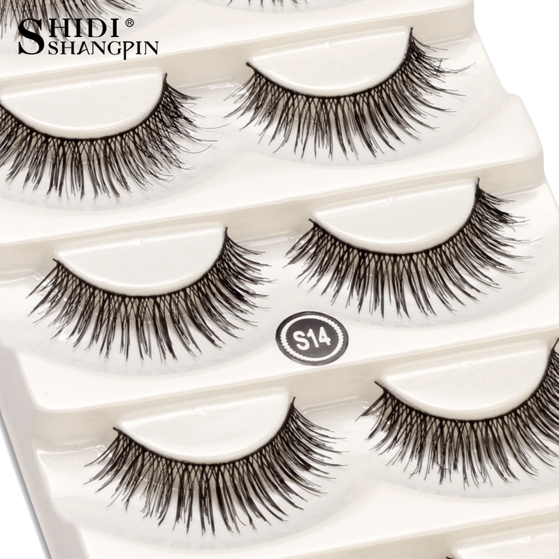 5 Pairs 100 Handmade Natural Black 10 Mm Top Brand False Eyelashes