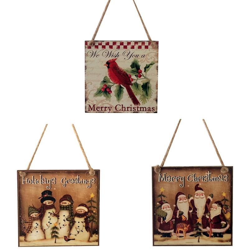 Happy Christmas Wooden Pendant Door Decorations Hanging