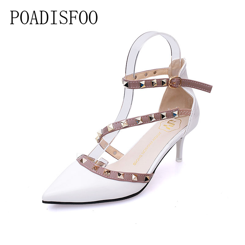 POADISFOO 2017 women Shoes Fashion Pointed Toe rivet Thin Heels Pumps