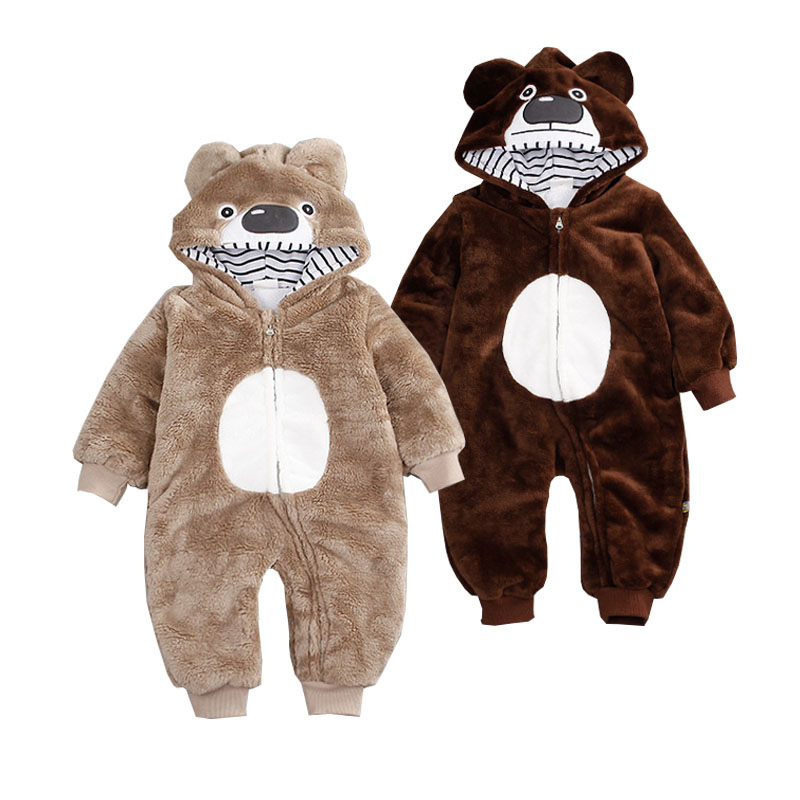 EDC Baby Hooded Coverall Newborn Bear Hooded Romper Thicken Jumpsuit Boys Coat Girls Clothes Outwear Kids Winter Warm Garment