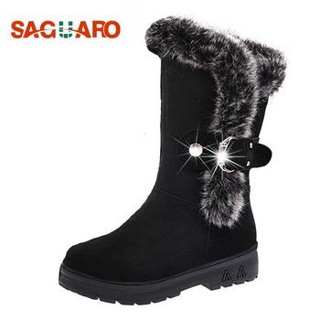 2a456d84 SAGUARO buty zimowe kobiety 2018 moda czarny buty kobiety futro ciepły Mid  cielę klamra Snow Buty