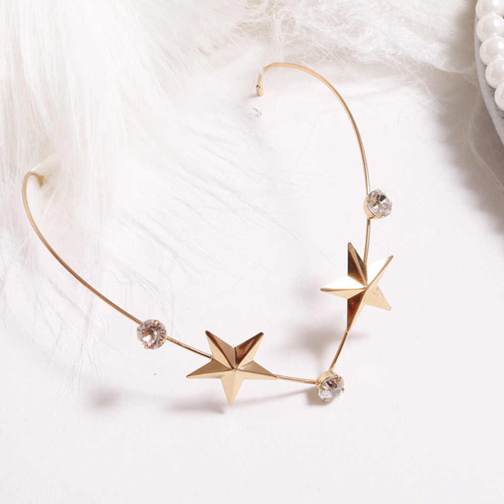 M MISM Girls Leaf Crystal Metal Headdress Pearl Stars Hairband For Women Headwear Girls Rhinestones Hair Hoop Hair Accessories