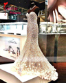 Amdml Luxury Beaded Crystal Mermaid Wedding Dresses 2017 Sweetheart Neck robe de mariage Fashion Beach Bridal Gowns Plus Size