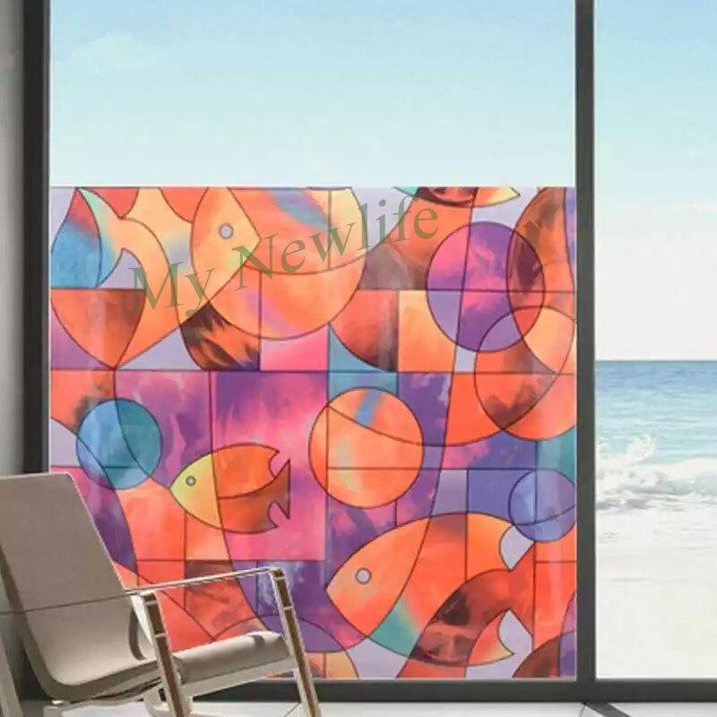 Art coloré poisson verre film vitrail autocollants salle de bains cuisine balcon porte Opaque auto-adhésif décor à la maison film 90*200 cm