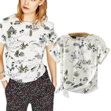 freeshipping summer t shirt women tops 2017 Fashion cute Cartoon printed bow round collar short sleeve T-shirt female plus size