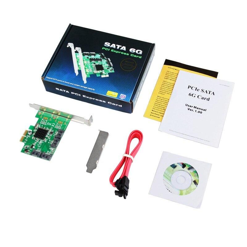 Для Marvell 9230 Чипсет PCIe 4-Порты и разъёмы SATA 3.0 RAID карты 6 ГБ/сек. с низким профилем кронштейн Поддержка RAID0 1 10