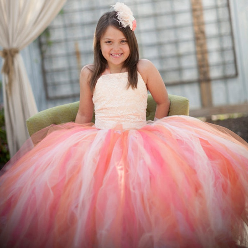 Flower Girls Tutu Dress For Wedding Birthday Party Lace Strap Mix Color Girls Boutique Ball Gown Tulle Dress With Satin Top princess flower girls tutu dress with lace straps girls evening dress for birthday party wedding flower ball gown handmade dress
