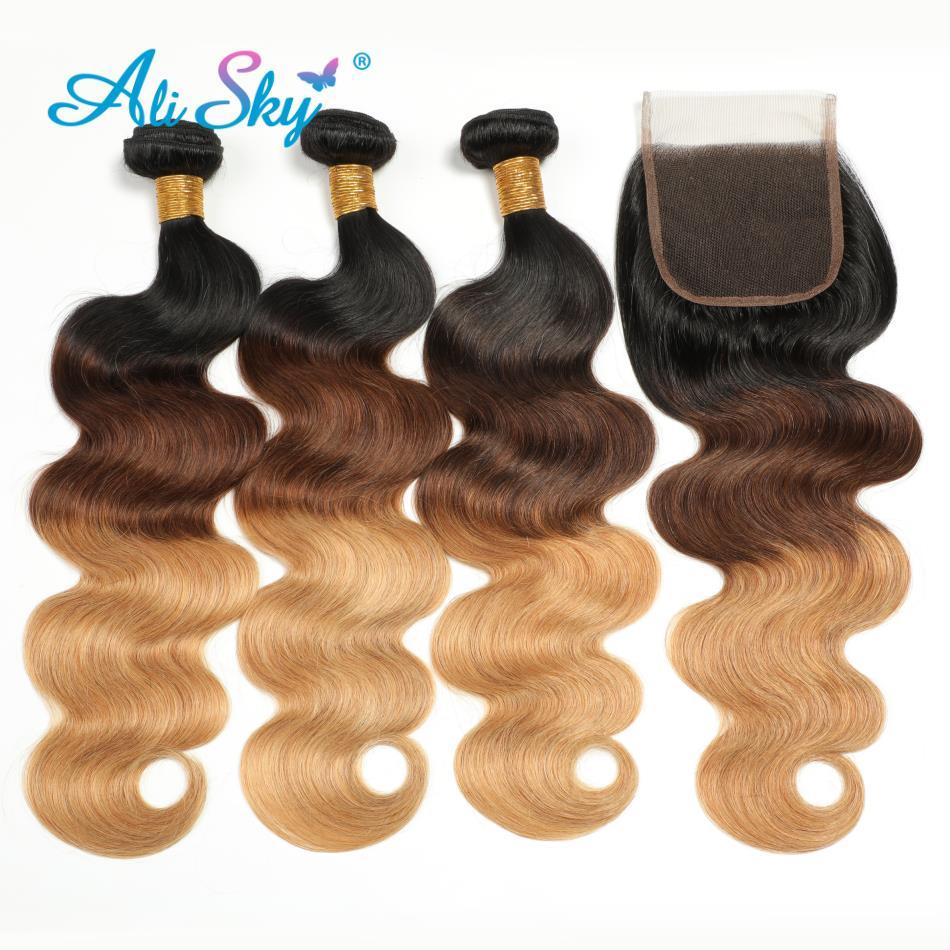 Ali Sky włosów Ombre 3 zestawy z zamknięciem 8 26 in 1B/4/27 brazylijski doczepy typu body wave z zamknięciem część darmowe Remy ludzki włos włosy wyplata w 3/4 pasma z siateczką od Przedłużanie włosów i peruki na AliExpress - 11.11_Double 11Singles' Day 1