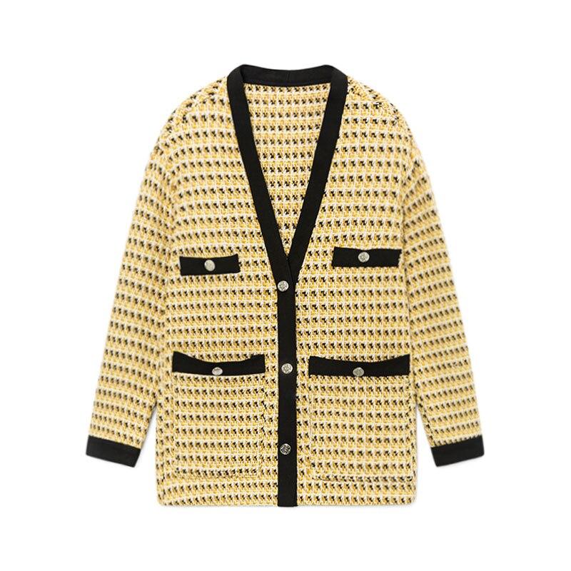 Tweed jacket coat Women ladies girl elegant knitted cardigan yellow classic clothing high quality 2019 spring