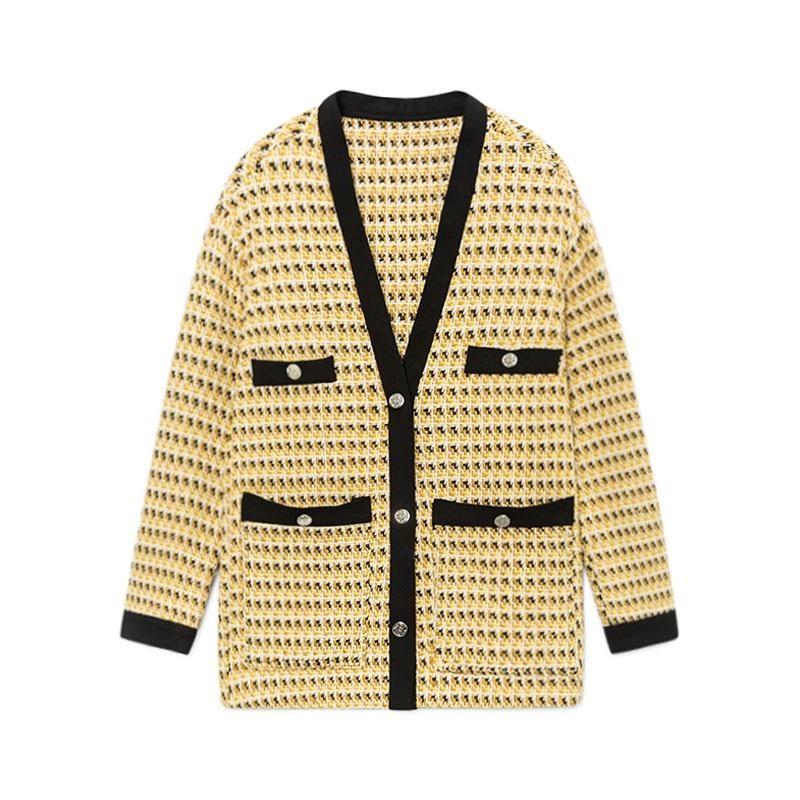 Tweed kurtka płaszcz kobiety panie dziewczyna elegancki sweter dziergany żółty klasyczny odzież wysokiej jakości 2019 wiosna w Podstawowe kurtki od Odzież damska na  Grupa 1
