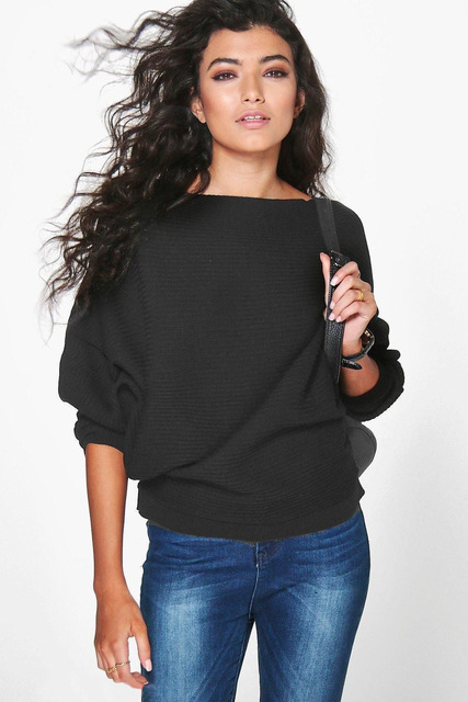 2016 European cotton pullovers batwing sleeve women sweater autumn winter fashion spliced loose sexy knitted ladies shirt E301