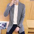 Новая осень 2016 мужская мода тенденция Корейской случайный все матч адаптивной сплошной цвет лацкан кардиган свитер M-5XL