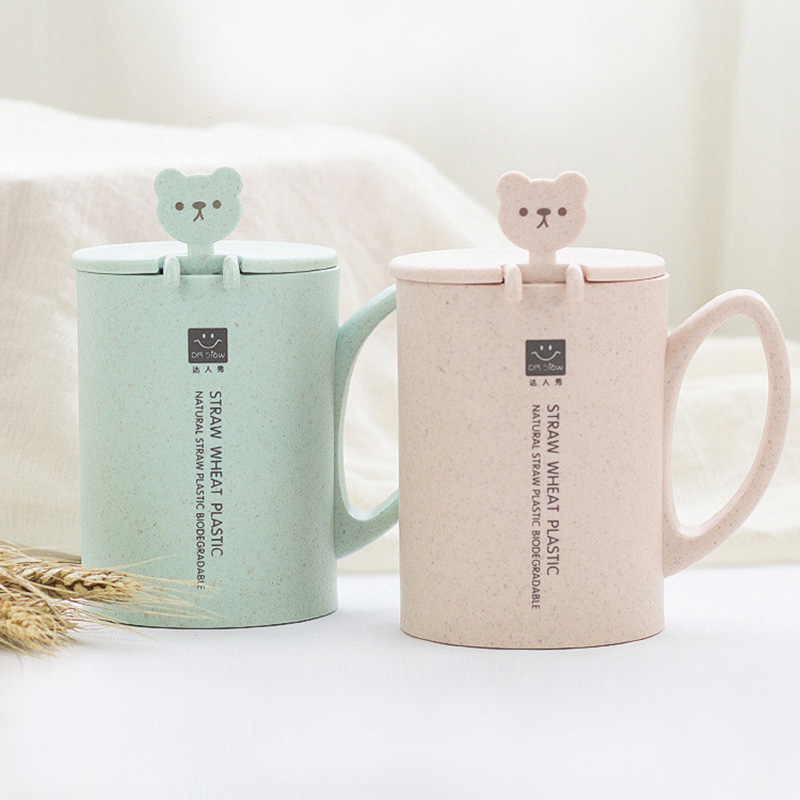 Wheat Straw Plastic Cup Men Women Mug Cute With Spoon Lid
