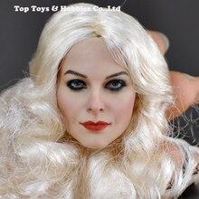 DIY 1/6 Head Sculpt white curls Action Figure CG CY Female KM-18-41 Painted sculpt European noble silver head Carmen