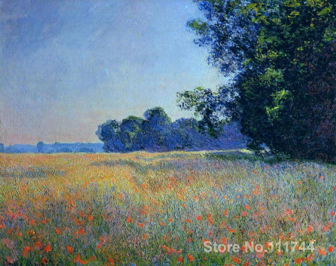 bedroom art Oat and Poppy Field Giverny Claude Monet paintings home decor High quality Hand painted